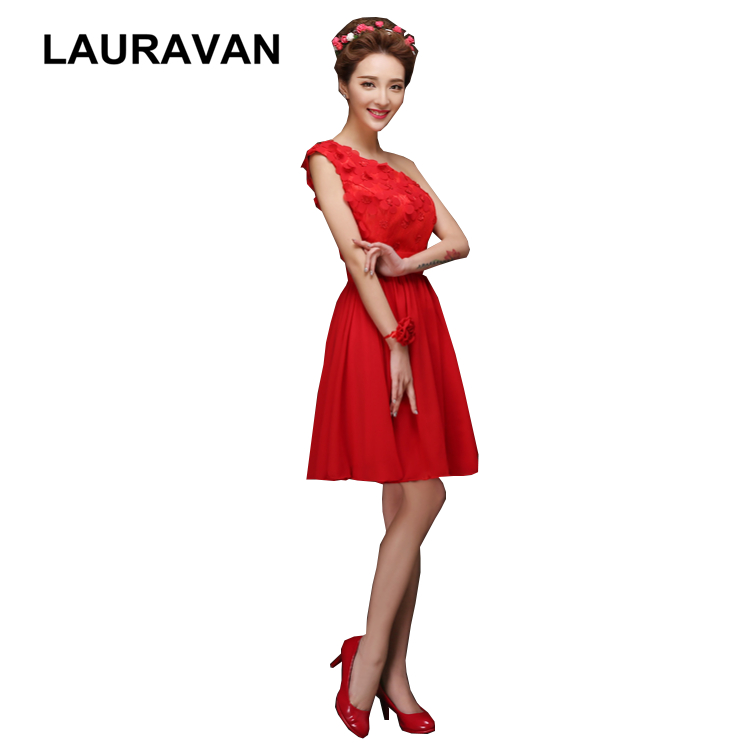 red short lace elegant party   dress   chiffon one shoulder knee length beautiful   cocktail     dresses   2019 pretty gowns for girls
