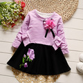 iAiRAY baby girl dress 1 year birthday dress infant girl long sleeve round neck purple flower dress kids clothes wedding dresses