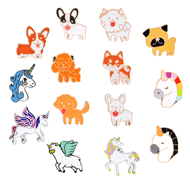 1cbb0449a Fashion Animal Brooch Cartoon Cute Horse Dog Enamel Pin Brooches For Women  Coat Backpack Metal Pins Badge Jewelry Lovers Gift