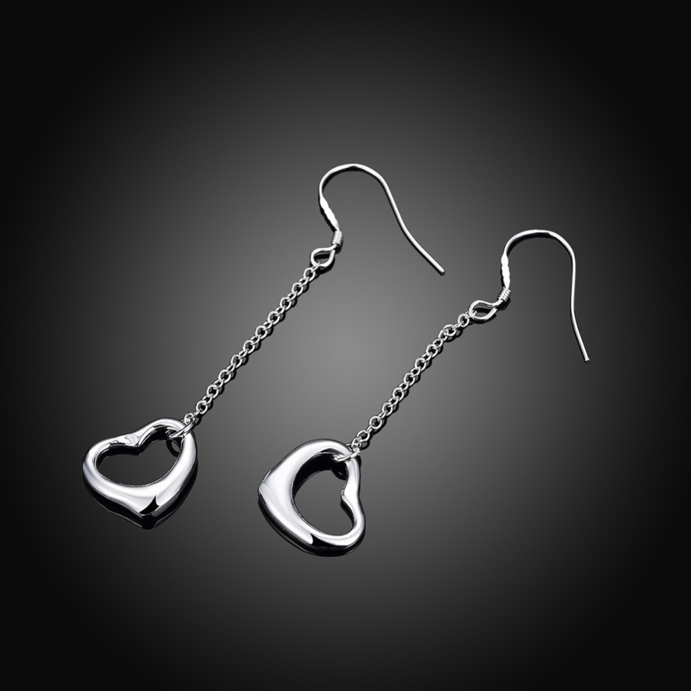 Heart Shaped Silver Earring Simple Long Chain Hanging Plated Dangle Earrings Jewelery For Women S Cute Gift In Drop From