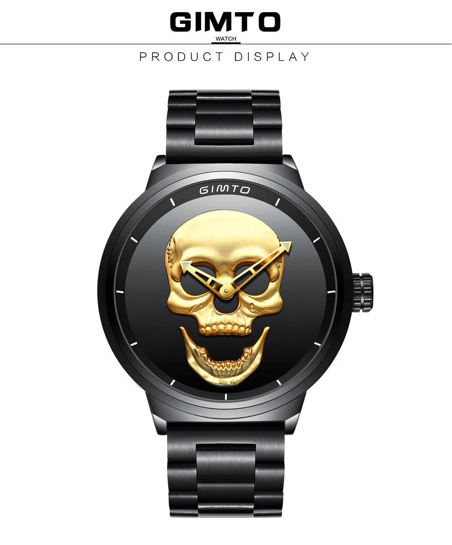 2018 Cool Punk 3D Skull Men Watch Brand GIMTO Luxury Steel Gold Black Vintage Quartz Male Watches sport clock Relogio Masculino 14