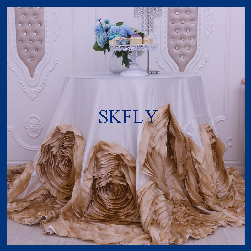 CL052L very popular wedding fancy thick satin and taffeta round champagne and ivory rosette cake table