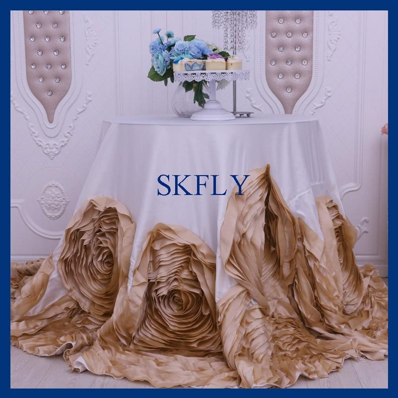 CL052L شعبية جدا الزفاف يتوهم سميكة الحرير و التفتا جولة الشمبانيا و العاج روزيت كعكة مفرش طاولة-في مفارش المائدة من المنزل والحديقة على  مجموعة 1