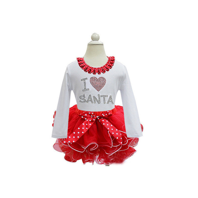 girl christmas dress red long sleeve autumn winter fall dot bow i love santa baby toddler - What To Buy A Girl For Christmas