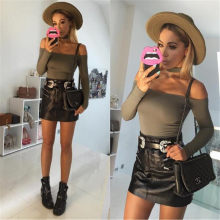 Women Bodysuits for Streetwear Sexy Off Shoulder Long Sleeve Solid Bodysuits Female Bib Decor Female Autumn Slim Bodysuits(China)
