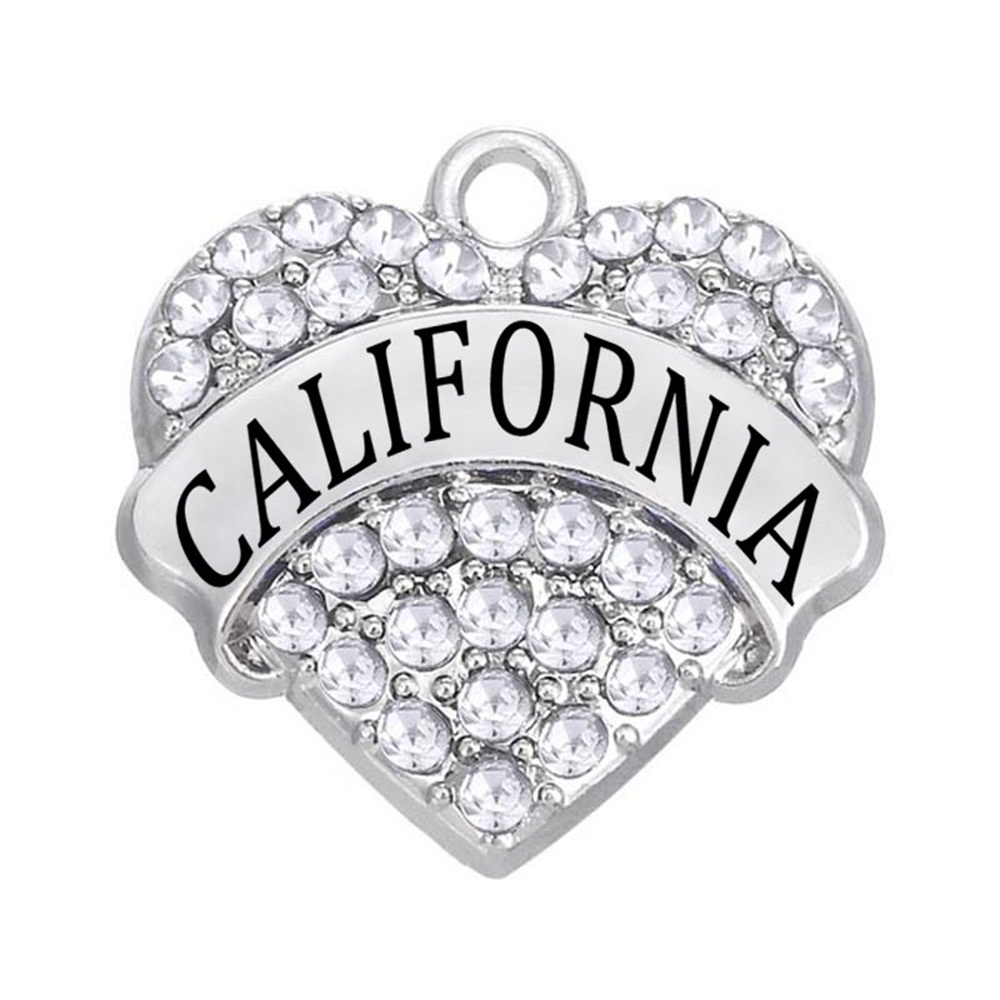 Shiny Rhinestone Crystal Inlaid CALIFORNIA Heart Shaped Metal Pendant for City Label bling Jewelry Accessories(China)