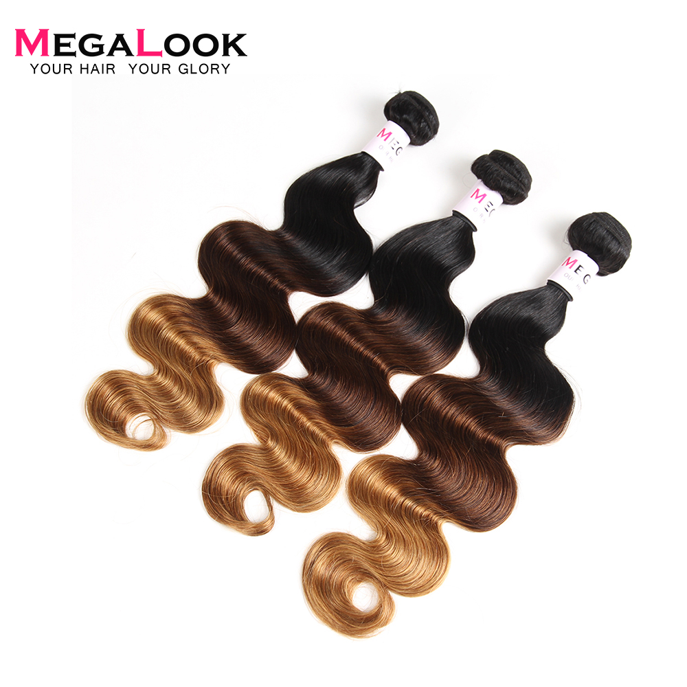 Megalook Color 1b 4 27 Ombre Peruvian Body Wave Human Hair Bundles 300g Remy Human Hair