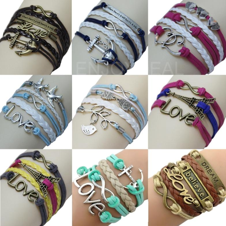 New Arrival Retro Alloy Bracelet with Cute Romantic Patterns Cross Hand Woven Bracelet #2014 Free Shipping