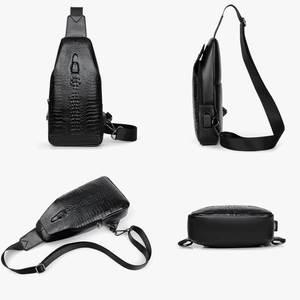 Image 4 - Neue Mode Männer Brust Tasche Messenger Taschen Leder USB lade Reisetaschen Beiläufigen männer Schulranzen Taschen Krokodil muster Crossbody tasche