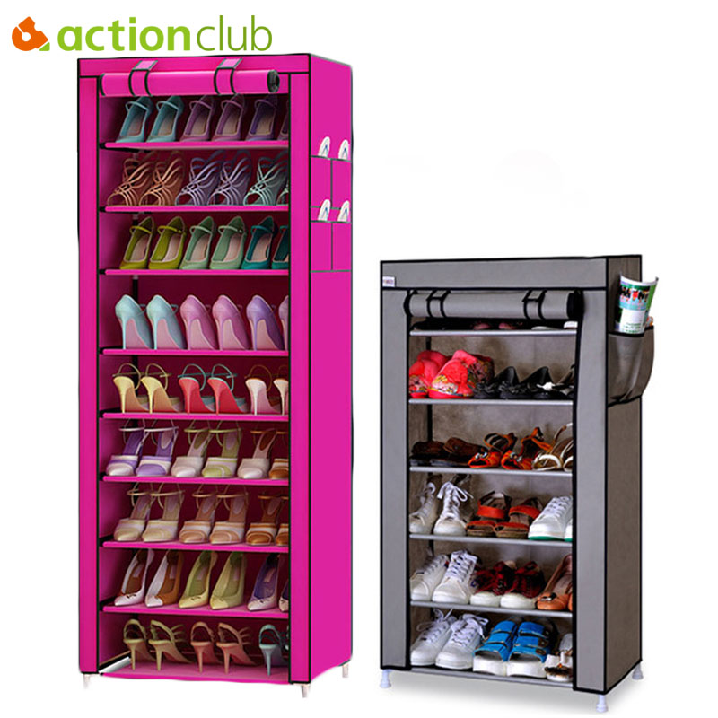 Actionclub 7 Lapisan 10 Lapisan Sepatu Lemari Penyimpanan DIY Perakitan Rak Sepatu Tahan Debu Pelembab Kapasitas Besar Rak Sepatu