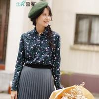 INMAN Women 's literary small broken flower autumn long sleeve shirt joker female cotton shirt