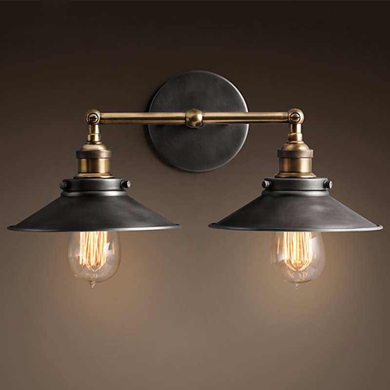 American vintage loft bedroom bedside double head iron wall lamp home deco E27 bulb bronze wall scone lamp AC110/220V