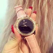Luxury Brand Дамы Горный Хрусталь Кварцевые Часы Женщины Кожаные Платья Наручные Часы Розовое Золото Кристалл Reloje Mujer Montre Femme OP001