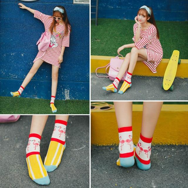 Harajuku Women Funny Socks Cartoon Animal Flamingo Cute Socks bird Cotton Short Anke Sock Skate Socks skarpetki damskie Sokken