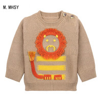 Kids Autumn Winter Children Knitting Sweater Fashion Long Sleeve Cotton Stripe Hit Color Two pullovers Set Head Baby Boy Sweater