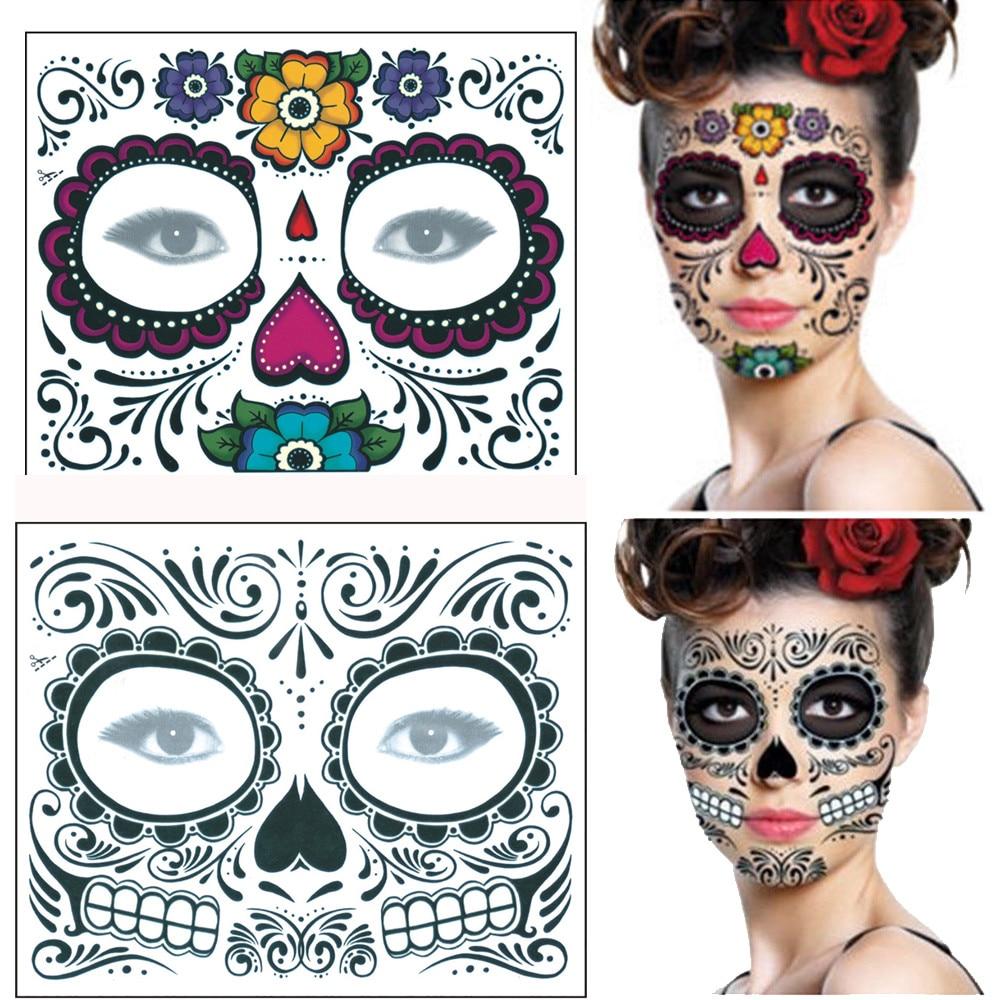 Temporary Tattoos Creative 2pcs Day Of The Dead Dia De Los Muertos