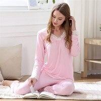 BanYan Womens Casual Loose Long Sleeve Pajamas Sets Stitch Modal Sweet Princess Sleepwear Womens Sleep Wear