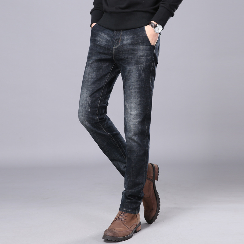 Casual Jeans Men Four Season Straight Style All-match Comfortable Jeans Trousers For Young Men Fashion Stretch Slim Denim Pants