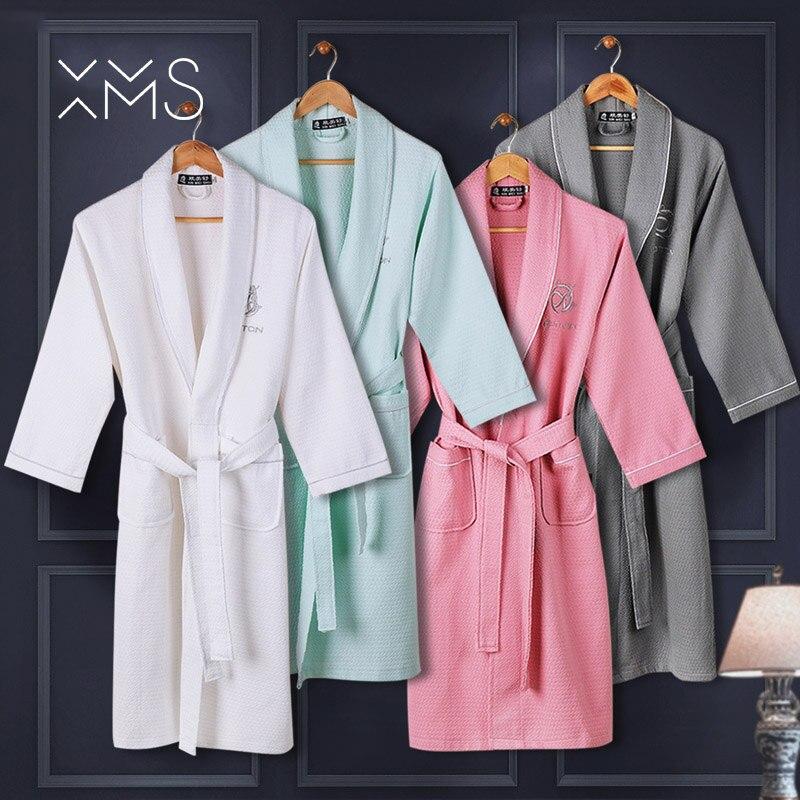 XMS 100% cotton Waffle long bathrobe for women Diamond pattern terry ladys bath robe with belt nightgown kimono sleepwear soft