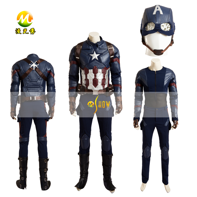 Top Quality Civil War Captain America Cosplay Costume Captain America 3 Steve Rogers Cosplay Dress For Halloween Party