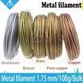 Hot! 100g 3D Impressora de Filamento Metálico, 30% De Conteúdo De Metal Filamentos-Cobre Puro/Bronze/Bronze/Cobre/Alumínio, 1.75