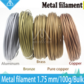 Hot!100g 3D Printer Metallic Filament,30% Of Metal Content Filaments -Pure Copper /Brass /Bronze /Copper /Aluminum, 1.75