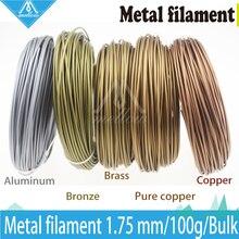100 г 3d принтер металлическая нить, 30% металлического содержания нитей-Чистая медь/латунь/бронза/медь/алюминий, 1,75