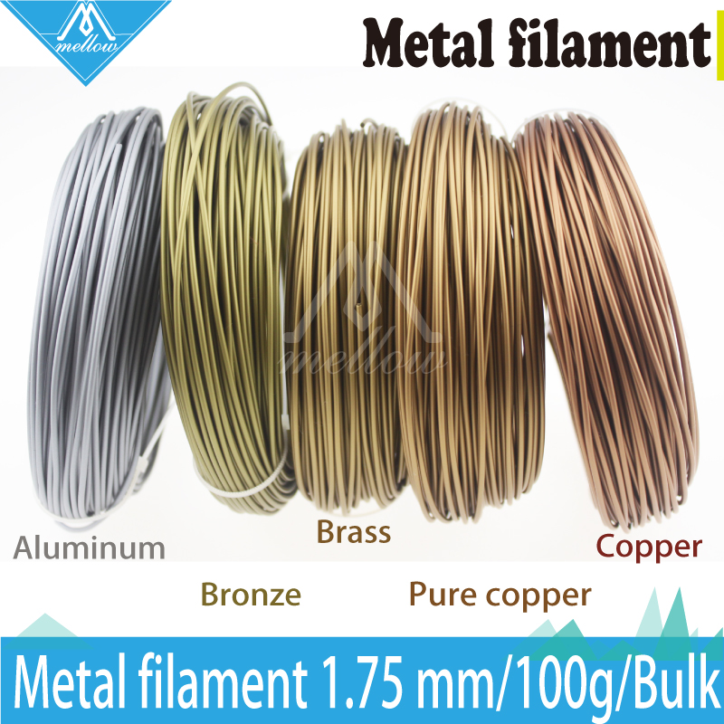 Hot!100g 3D Printer Metallic Filament,30% Of Metal Content Filaments -Pure Copper /Brass /Bronze /Copper /Aluminum, 1.75