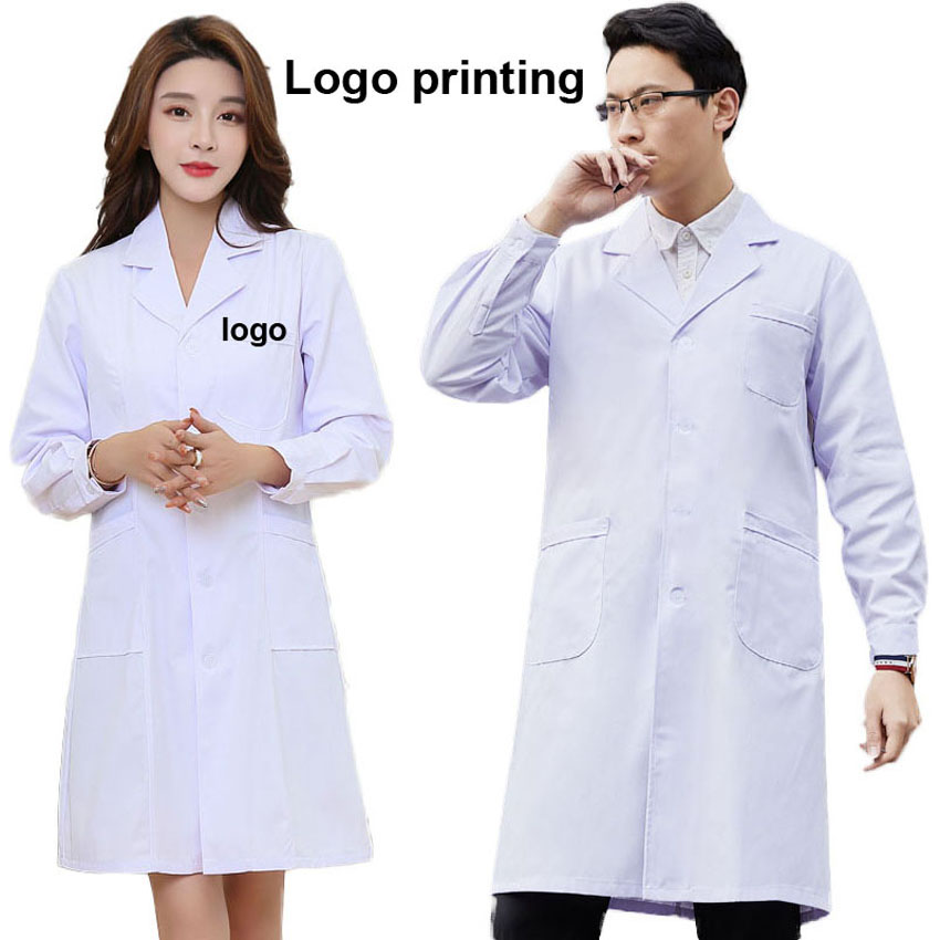 Customized DIY Logo Printing Medical Uniform Hostipal Doctor Nurse Costumes Gown Dress Polyester Thin White Work Clothing