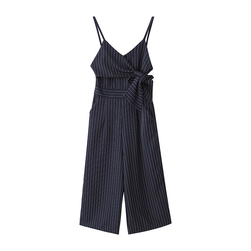 Sexy Jumpsuits For Women Dark Blue Striped Strapless Pants Ladies Fashion Clothing 2019 New Style Bandage Elegant Rompers 5