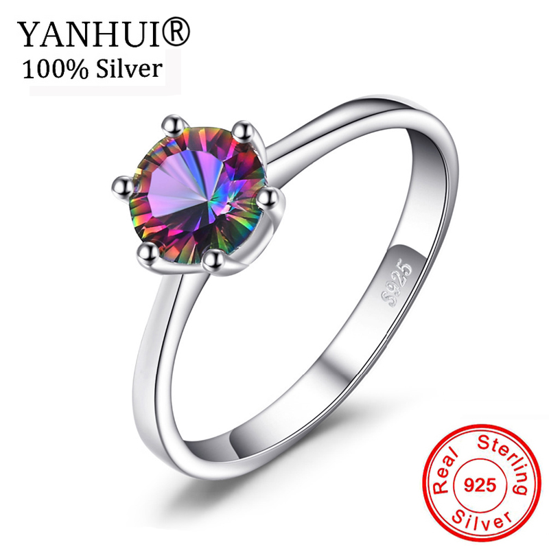95% OFF! YANHUI Fine Jewelry Original 925 Silver Rings Fashion Multicolor CZ Diamant Solitaire Wedding Rings For Women J0112 big promotion 100% original 925 silver wedding rings for women natural solitaire 6mm cz diamant engagement rings jewelry rj003