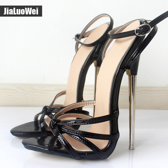 Fetish GiaroSlick New 2017 Fashion Ankle Strap Pointed Toe Women Shoes Metal Thin Heels High-Heeled Shoes unisex sandals