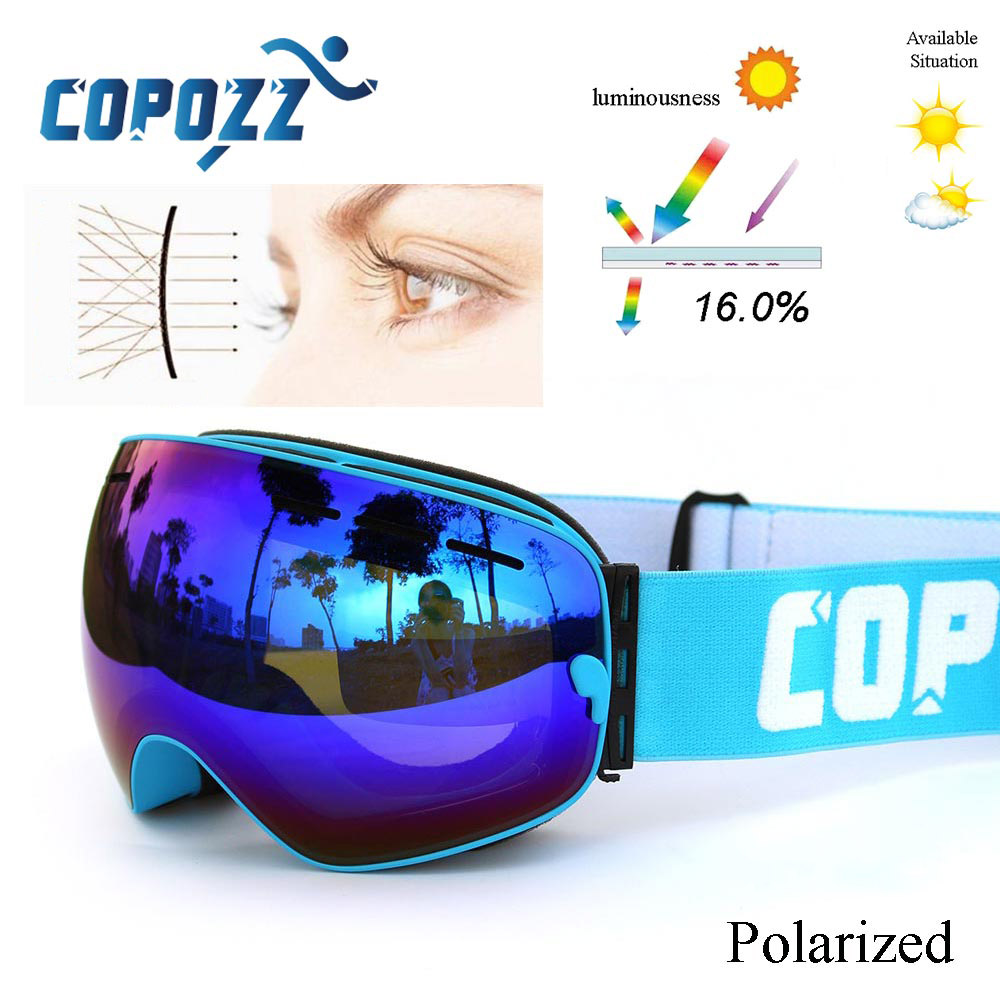 COPOZZ New Polarized Ski Goggles Double Lens Snowboard UV400 Sneeuwbril Anti-fog Ski Glasses Skiing Adult Snow Goggles GOG-201P
