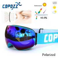New COPOZZ Brand Professional Polarized Ski Goggles Double Lens UV400 Anti Fog Big Ski Glasses Skiing