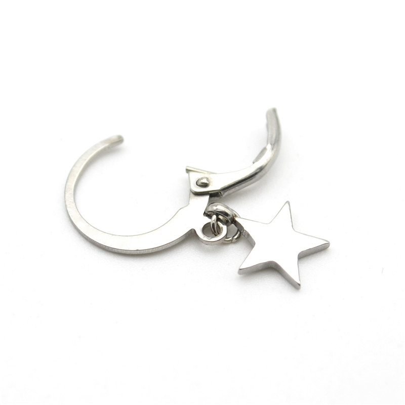Thin Hoop Earrings Five Star Anchor Snow Fashion Ear Ring For Women 316l Stainless Steel