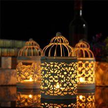 1 Uds. Portavelas creativo soporte hueco candelero farol colgante para candelero Vintage jaula de pájaro decoración de boda forjado
