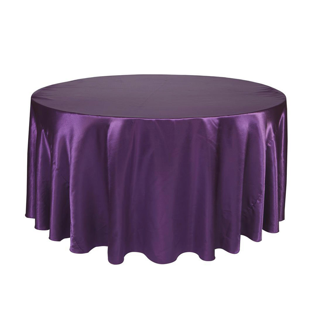 Round Table Cloth Topper Tablecloth Luxury Polyester Satin Table Cover Oilproof Wedding Party Restaurant 18