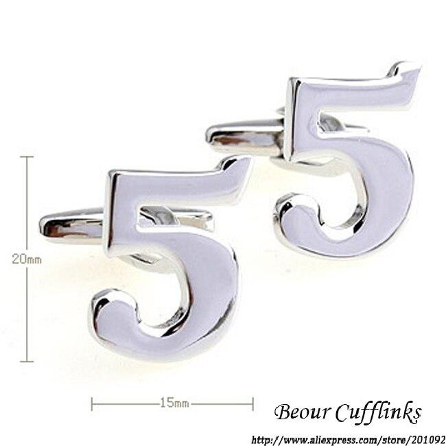 Медь cufflilnks, Классический покрытие белого Сталь Математика номер 5 запонки для рубашка запонки бренд 6651, бесплатная доставка
