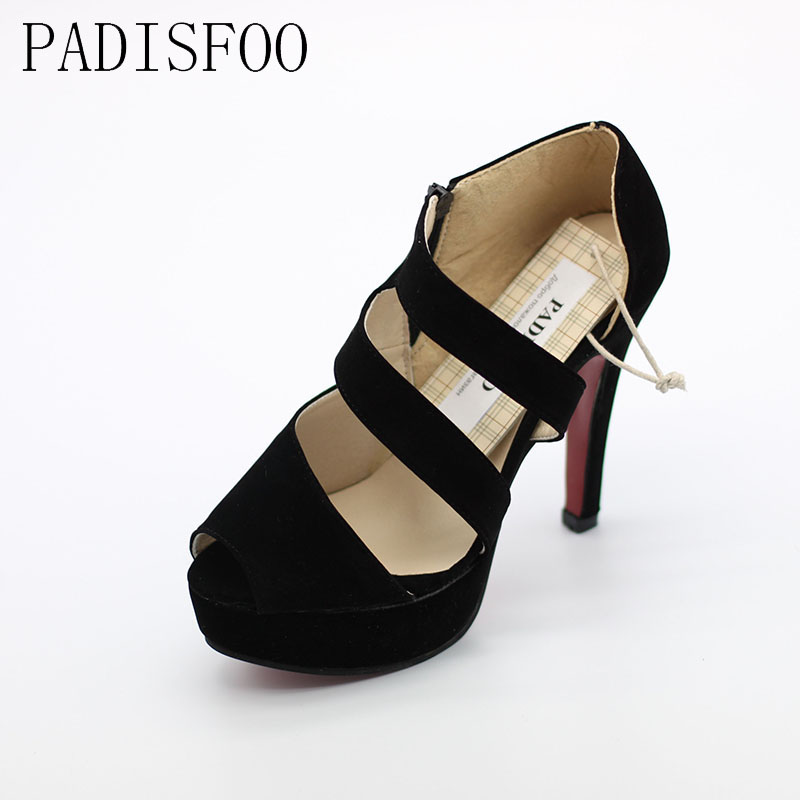 POADISFOO  Spring And Summer  Korean Nightclub Roman Shoes Hollow Fish Head Shoes Fine With Suede high-heeled .XL-WXZ01C01 summer europe 17cm high with fine with high waterproof hollow sexy nightclub thick crust fish head sandals stage shoes