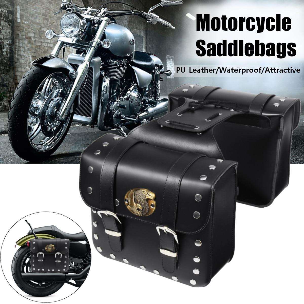 2pcs Motorcycle PU Leather Side Saddlebag Luggage Saddle Bag Black for Harley motorcycle bag knight saddle bag riding the edge side of the box saddlebag motorcycle for harley davidson
