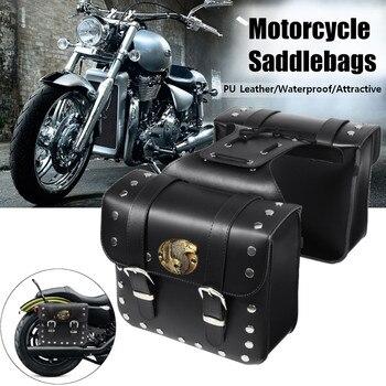 2pcs Motorcycle PU Leather Side Saddlebag Luggage Saddle Bag Black