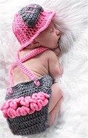Różowy Strażak Baby Girl Fotografia Rekwizyty Bawełna Kapelusz Akcesoria Pełne Ręcznie Dziane MadeCap Spodnie Dzieci Pamiątki