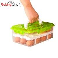 BAKINGCHEF Egg Container Storage Box 24 Grid Bilayer Basket Food Organizer Home Kitchen Gadgets Items Accessories Supplies Cases