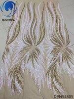 Beautifical Africaine tissus 2018 Dernière conception or/blanc paillettes tulle dentelle tissu pour femmes robe français dentelle tissu DPN548