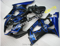 Hot Sales,For Suzuki GSXR 1000 K3 2003 2004 GSX R1000 03 04 GSXR1000 Blue Flame Fairings Motorcycle Parts (Injection molding)