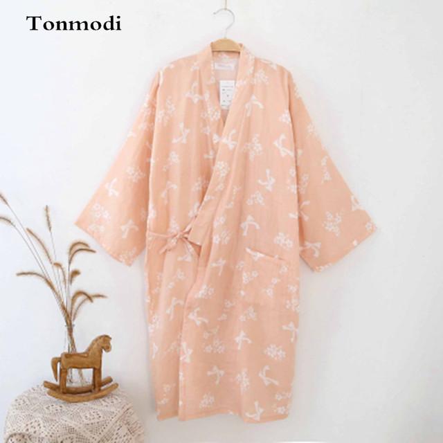 Túnicas Kimono de Las Mujeres de Algodón de Gasa Doble de Primavera Y Otoño de manga larga Vestido de Algodón Albornoces Salón