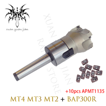 1pc MT3 FMB22 M12 MT2 FMB22 M10 + 10PCS APMT1135 Combi Shell Mill Arbor Morse Taper Tool Holder for BAP300R  CNC Milling Machine new mill cutter mt2 m10