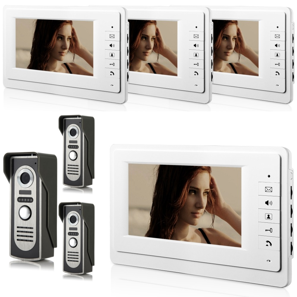 Freeship by DHL 7 TFT font b Video b font Intercom With 4 White Monitors Wired