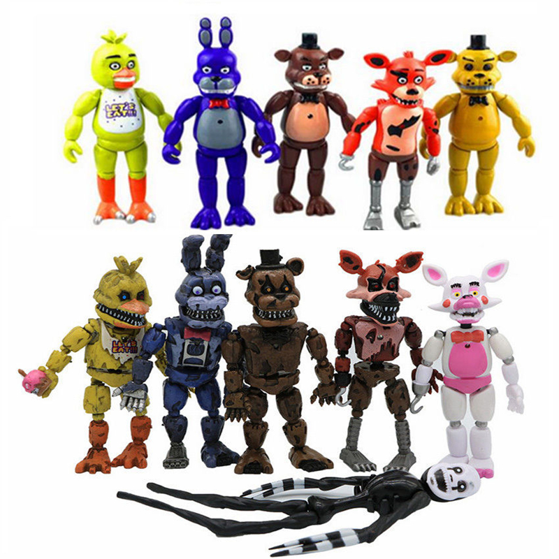 Collection fun Five Nights At Freddy's 9-12cm FNAF 4/5/6/11/12 Pcs Action Figures Fazbear Foxy PVC decoration Childrenn gifts