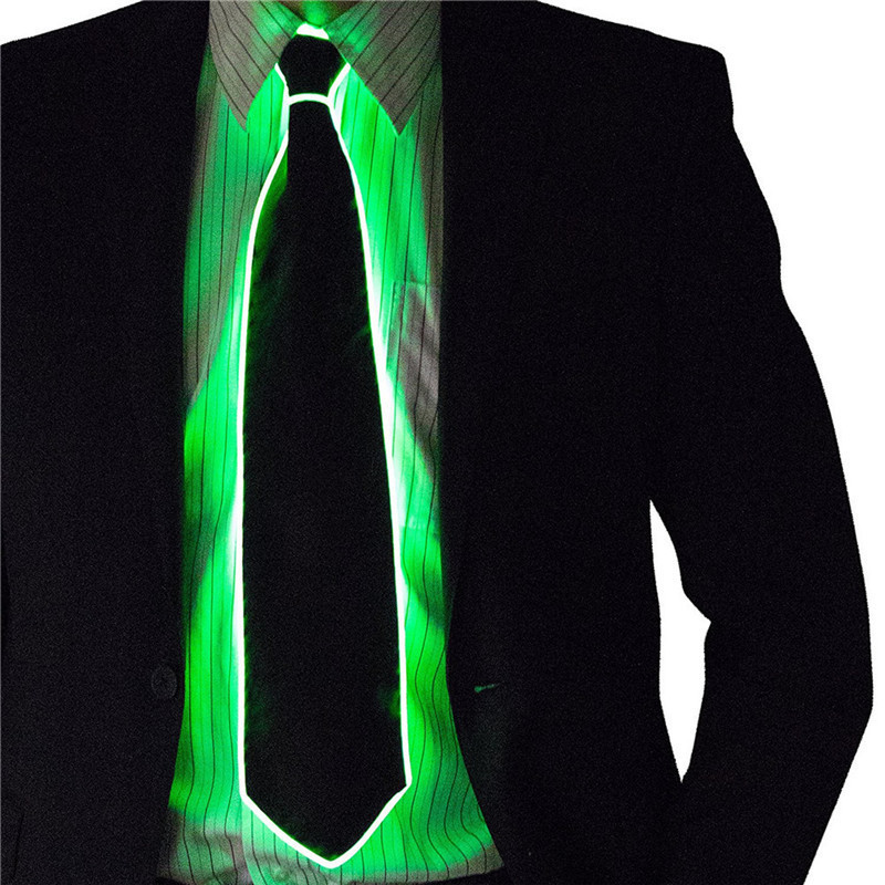 New Arrivel EL Tie LED Light Up Flashing Striped Luminous Necktie For Men Club Cosplay Party Glowing Supplies Bar Show